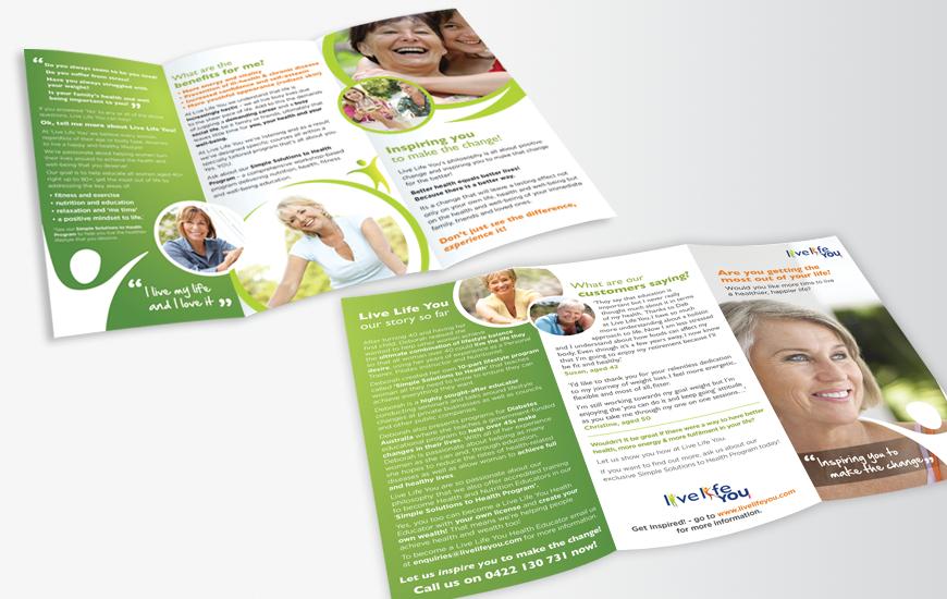 Over 40's DL print brochure design