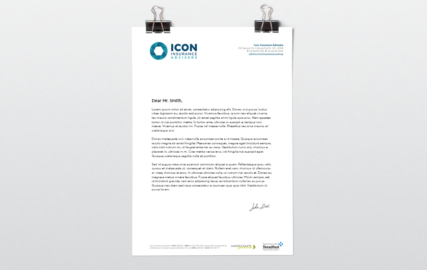 Synkd Icon Insurance letterhead design