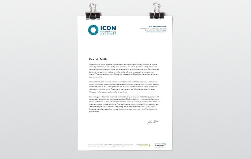 Synkd Icon Insurance letterhead design