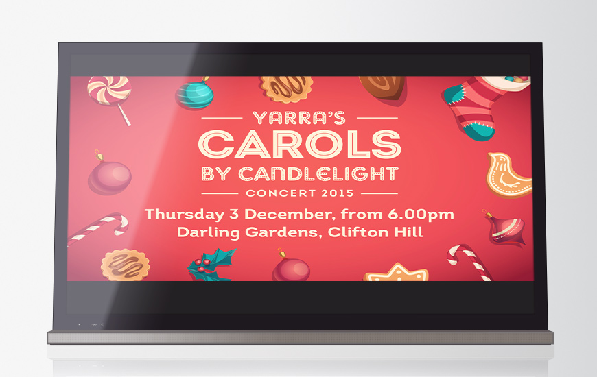 City of Yarra 2015 Carols by Candlelight Bright sign screen