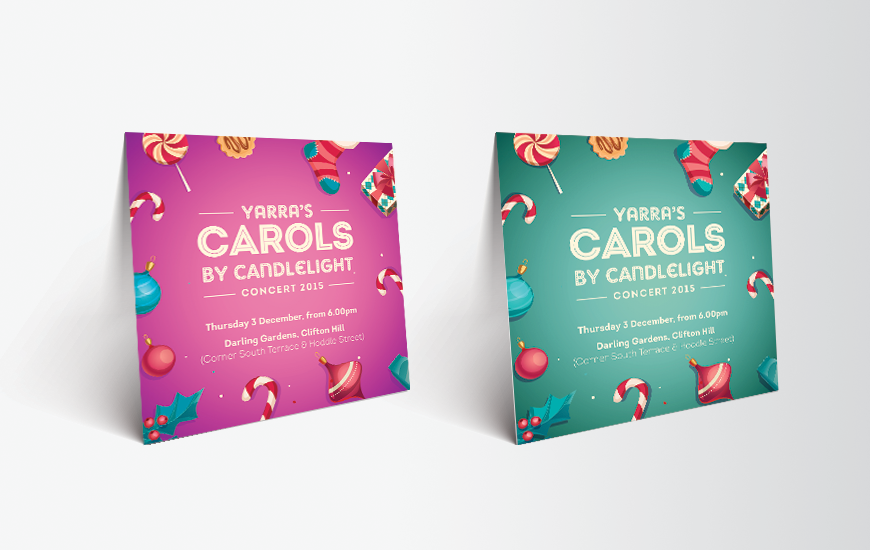 City of Yarra 2015 Carols by Candlelight postcards. Purple and Aqua versions
