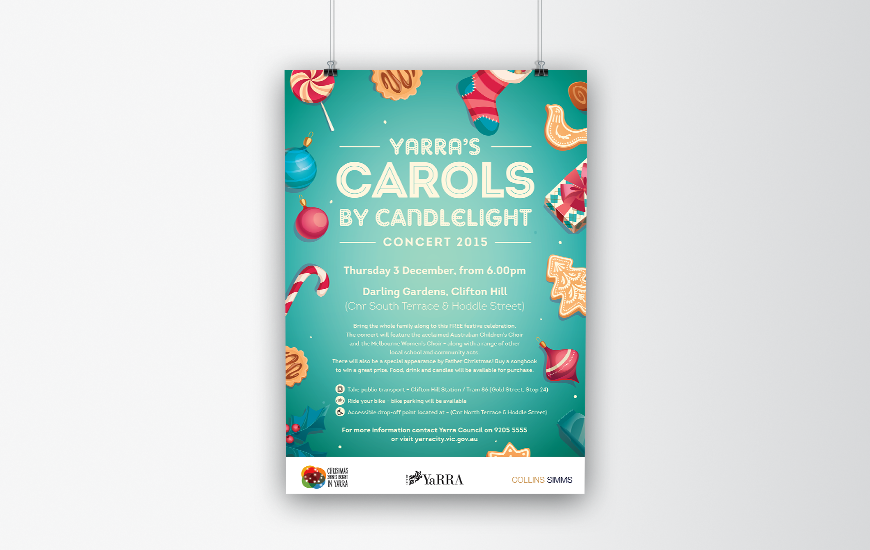 City of Yarra 2015 Carols by Candlelight poster. Aqua version