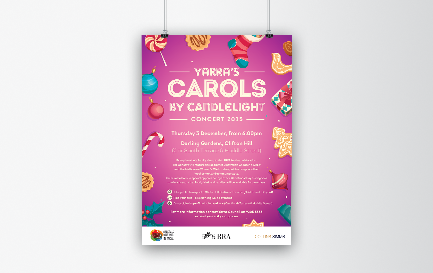 City of Yarra 2015 Carols by Candlelight poster. Purple version