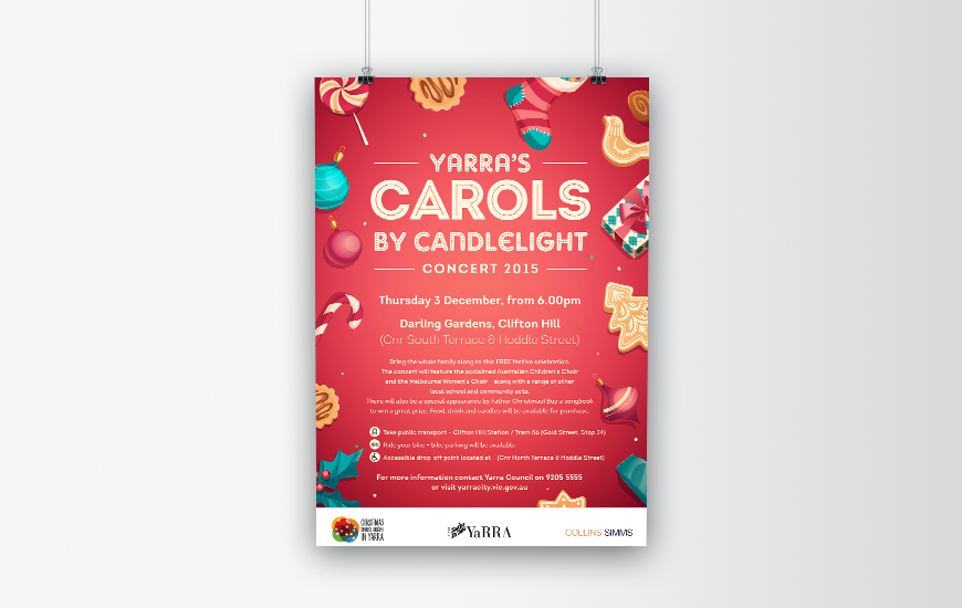 City of Yarra 2015 Carols by Candlelight poster