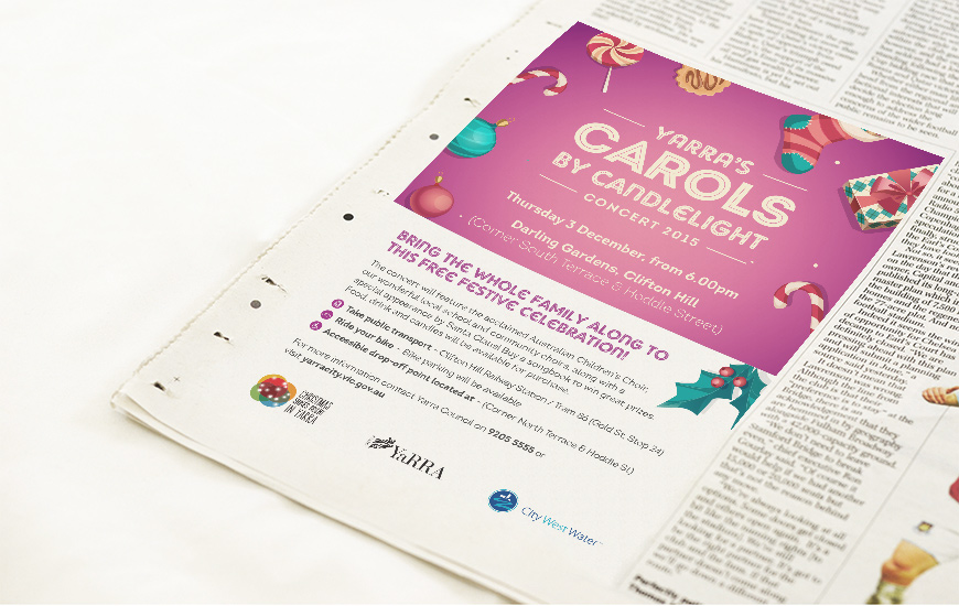City of Yarra 2015 Carols by Candlelight Press Advert